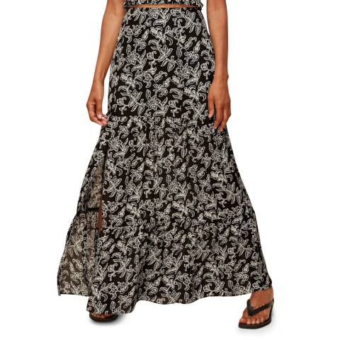 WHISTLES Black Printed Jasmine Silk Skirt
