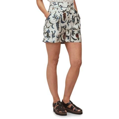 WHISTLES White Printed Subrina Silk Shorts