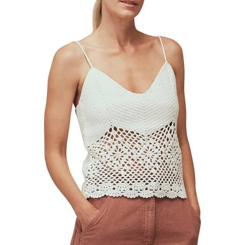 WHISTLES White Strappy Crochet Knit Top