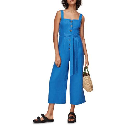 WHISTLES Blue Hadley Linen Jumpsuit