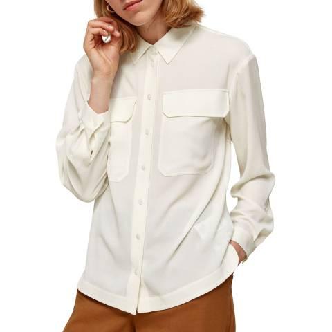 WHISTLES Ivory Textured Pocket Blouse