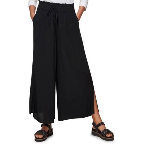 WHISTLES Black Fluid Crop Trousers