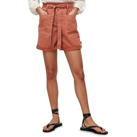 WHISTLES Pink Tie Waist Cargo Pocket Shorts