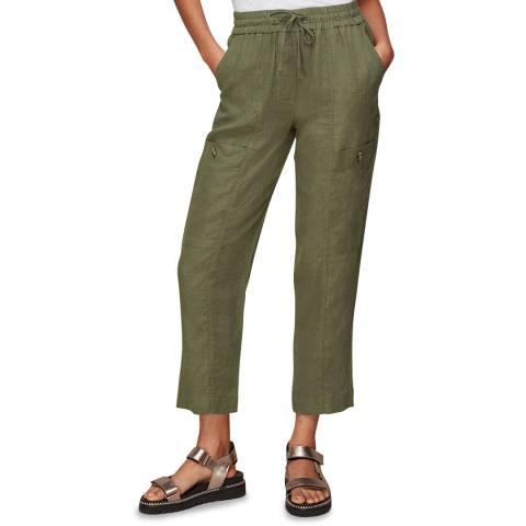 WHISTLES Khaki Linen Cargo Trousers