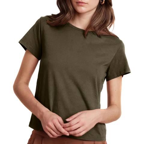 Velvet By Graham and Spencer Khaki Cotton T-Shirt