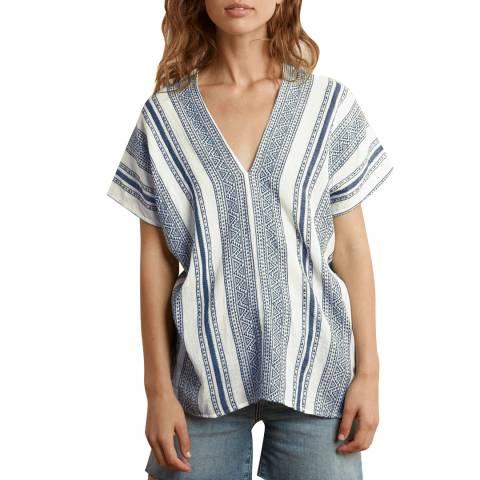 Velvet By Graham and Spencer Blue Stripe V Neck Cotton Top