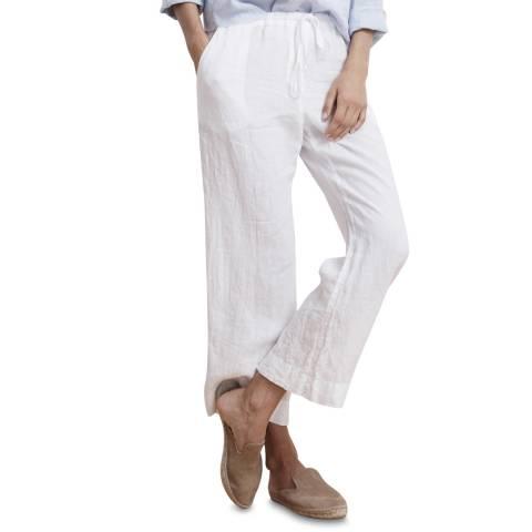 Velvet By Graham and Spencer White Woven Linen Trouser
