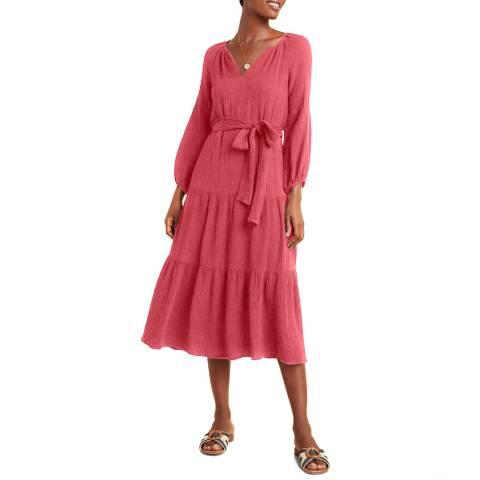 Velvet By Graham and Spencer Raspberry V Neck Cotton Maxi Dress