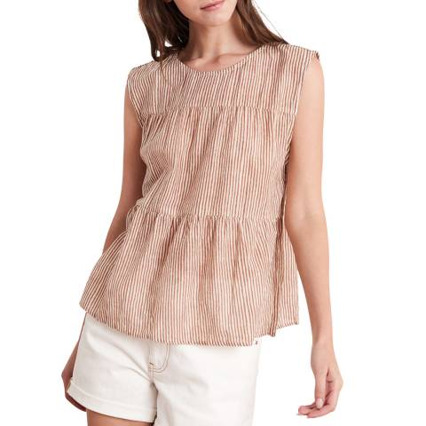 Velvet By Graham and Spencer Tan Printed Cotton Shell Top
