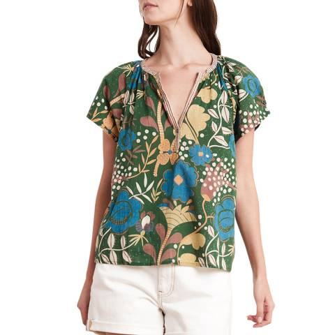 Velvet By Graham and Spencer Multi Green Floral Cotton Top