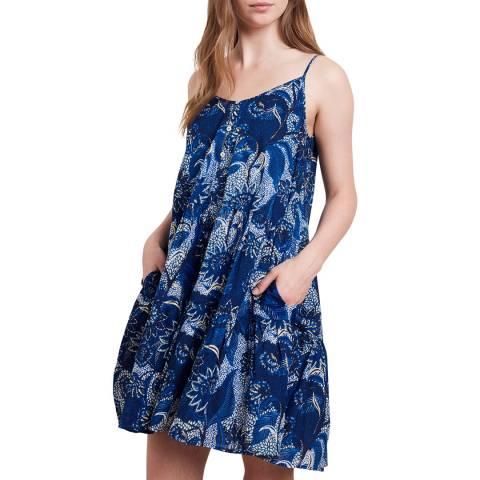 Velvet By Graham and Spencer Blue Multi Printed Cotton Dress