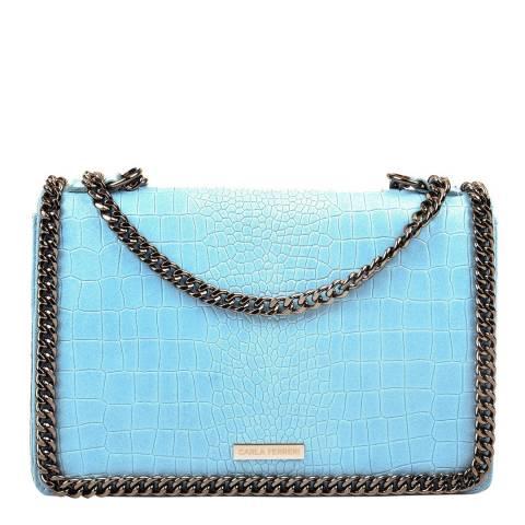 Carla Ferreri Blue Leather Shoulder/Crossbody Bag