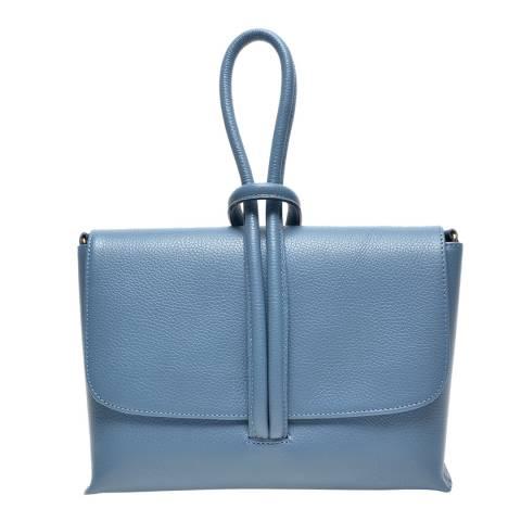 Carla Ferreri Blue Leather Top Handle Bag