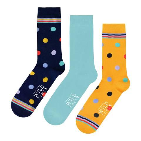 Wild Feet Multi 3 Pack Jacquards Socks