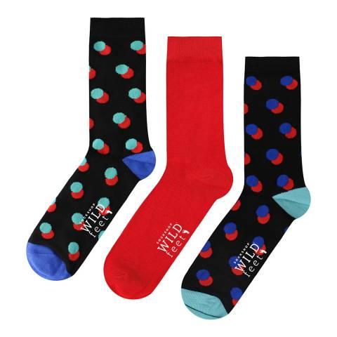 Wild Feet Black/Red 3 Pack Jacquards Socks