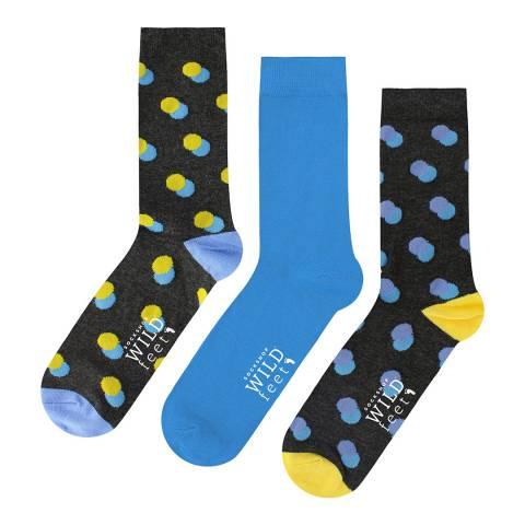 Wild Feet Blue/Yellow/Navy 3 Pack Jacquards Socks