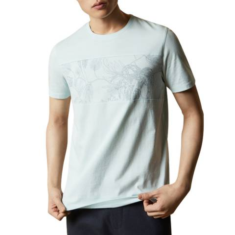 Ted Baker Mint Herbtee Printed Panel Cotton T-Shirt