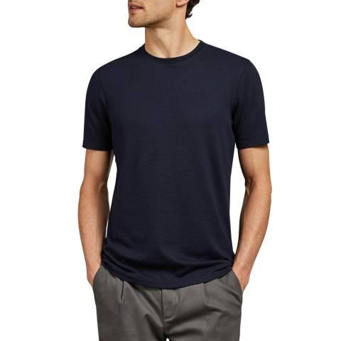 Ted Baker Navy Jamin Textured Cotton T-Shirt