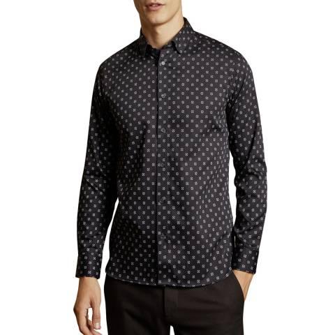 Ted Baker Navy Fille Circle Geo Print Cotton Shirt