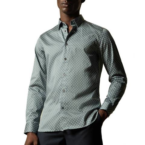 Ted Baker Green Heknows Small Floral Print Cotton Shirt