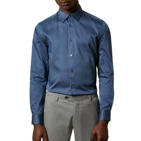 Ted Baker Blue Whonos Geo Print Cotton Shirt