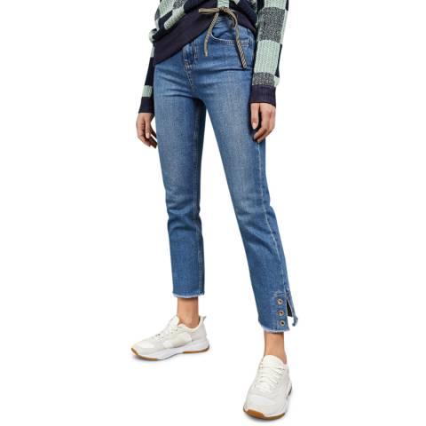 Ted Baker Mid Wash Eyleta Eyelet Detail Cotton Straight Stretch Jean