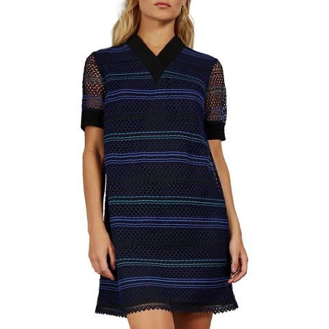 Ted Baker Blue Estelly Cotton Blend Lace A Line Dress