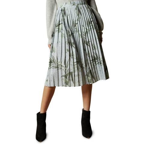 Ted Baker Grey Estie Printed Pleated Skirt