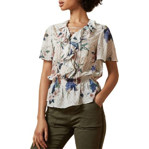 Ted Baker Ivory Byrann Floral Ruffle Top