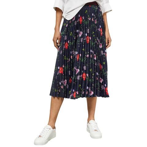 Ted Baker Dark Blue Luish Floral Pleated Midi Skirt