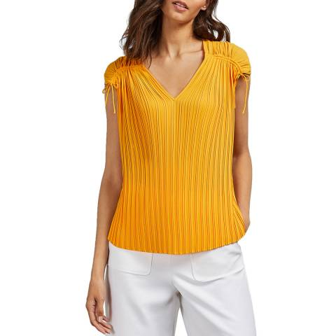Ted Baker Yellow Chasta Tie Shoulder Pleated Top