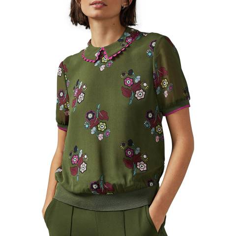 Ted Baker Khaki Cleiss Scallop Trim Collar Top