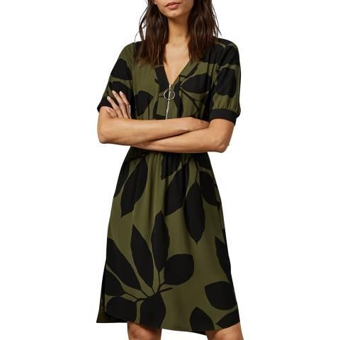 Ted Baker Khaki Telavee Zip Front Dress