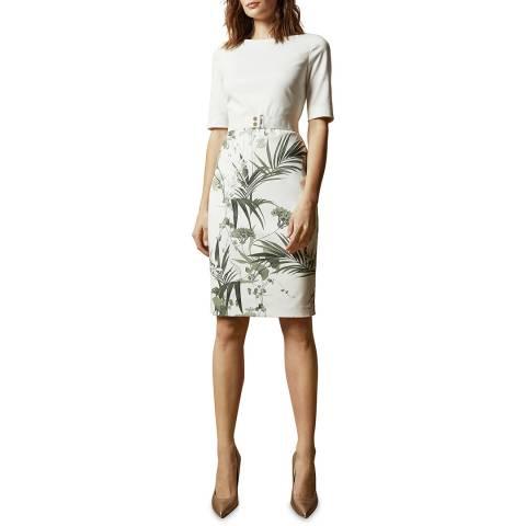 Ted Baker Cream Tyyraa Mid Sleeve Floral Bodycon Dress