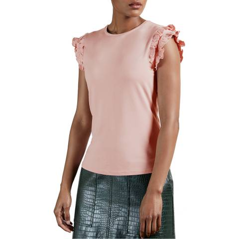 Ted Baker Pale Pink Liniea Frill Sleeve T-Shirt