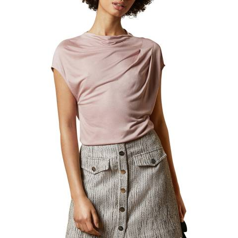 Ted Baker Dusky Pink Popeey Cowl Neck Short Sleeve Top