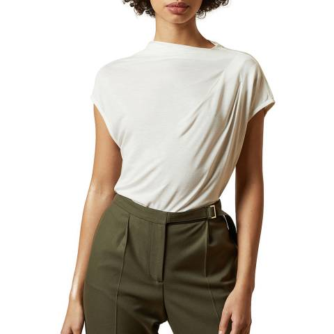 Ted Baker Ivory Popeey Cowl Neck Short Sleeve Top