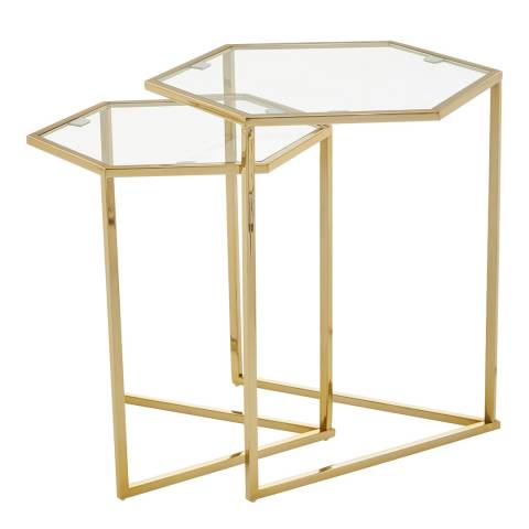 Fifty Five South Herber Set Of 2 Gold Finish Tables