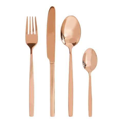Premier Housewares Rose Gold Finish Avie 16pc Cutlery Set