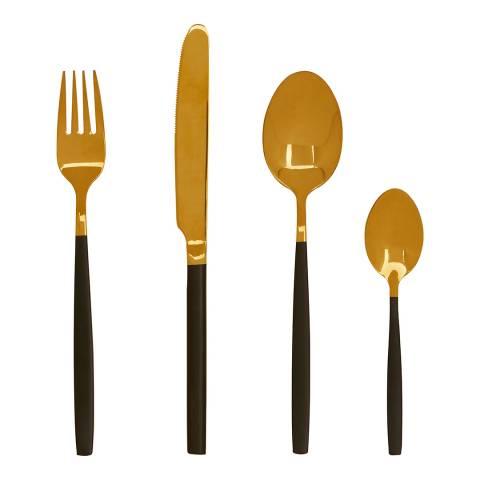Premier Housewares Gold/Black Avie 16pc Cutlery Set