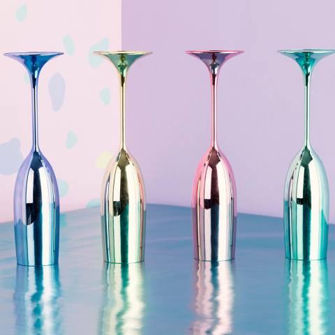 Premier Housewares Mimo Set Of 4 Multicolour Champagne Glasses