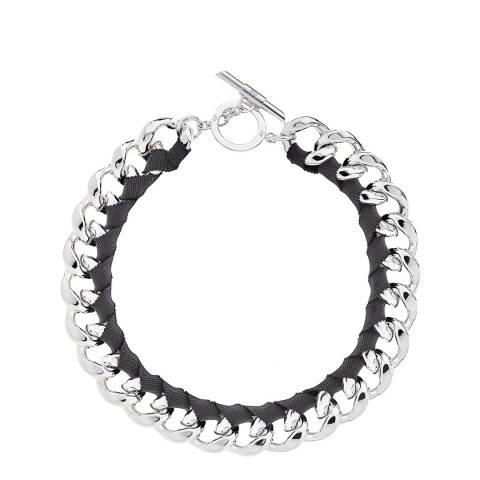 Amanda Wakeley Silver Metallic Ribbon Curb Necklace