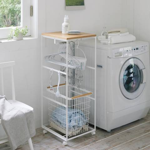 Yamazaki White Tosca Laundry Wagon With Wooden Board