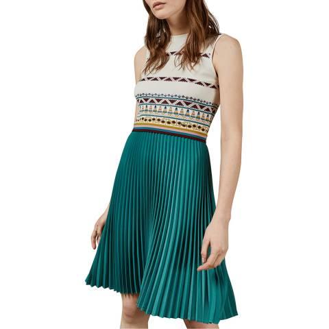 Ted Baker Ivory/Multi Zannan Knit/Pleat Dress