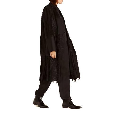Amanda Wakeley Black Fringed Weave Coat