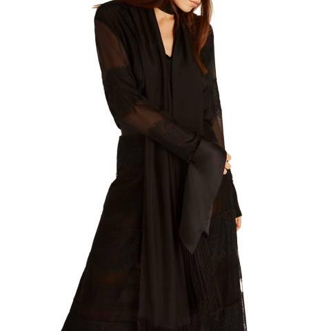 Amanda Wakeley Black Chiffon & Lace Silk Top