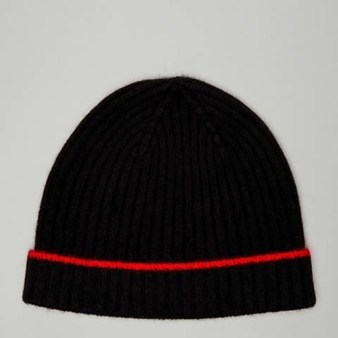 N°· Eleven Black/Red Cashmere Ribbed Beanie