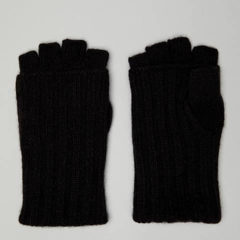 N°· Eleven Black Cashmere Ribbed Fingerless Gloves