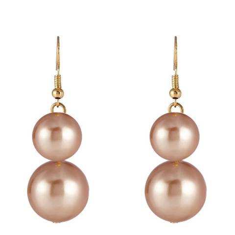 Liv Oliver 18K Double Champagne Pearl Drop Earrings