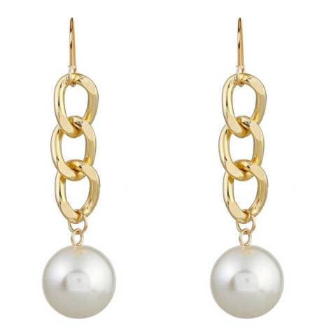 Liv Oliver 18K Gold Plated Chain Link Pearl Drop Earrings